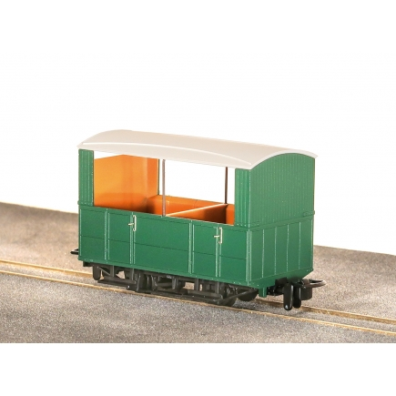 Peco GR-520UG Glyn Valley Tramway 4 Wheel Open Side Coach No Markings Plain Green