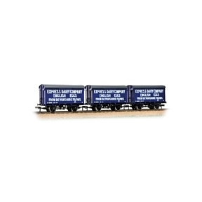 Graham Farish 377-440 SR 12T Ventilated Van Even Planked 3-Wagon Pack 'Express Dairies Eggs' Blue