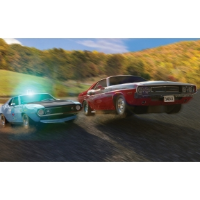 Scalextric American Police Chase (AMC Javelin Police car v Dodge Challenger