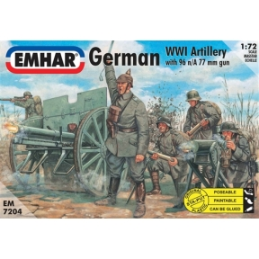 German Artillery WWI Figs & 76mm Field Cannon 96n A