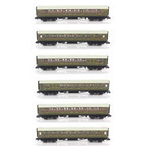 Dapol 2P-014-010 N Gauge 6 coach Set Maunsell High Window Coaches Lined Olive Green Set No.456