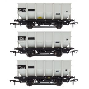 Accurascale ACC1005 OO Gauge Pack Of 3 HUO 24.5 Ton Hoppers BR Grey Pre TOPs