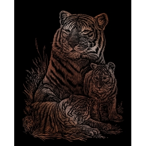Tiger and Cubs Copper Engraving Art