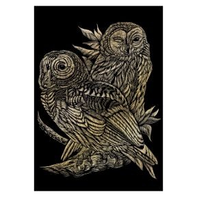 Owls Gold Engraving Art