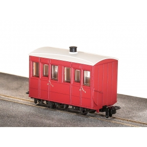 Peco GR-500UR Glyn Valley Tramway 4 Wheel Enclosed Side Coach No Markings Plain Red