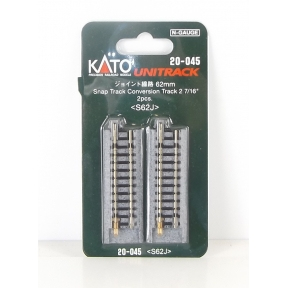 Kato N Gauge Unitrack (S62J) Straight Conversion Track 62mm (Pack Of 2)