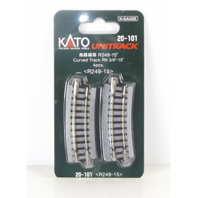 Kato N Gauge Unitrack (R249-15) Curved Track 15 Degree (Pack Of 4)