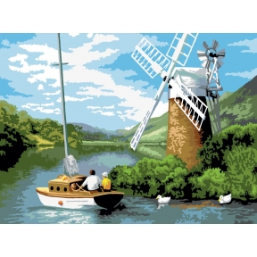Windmill on the River Painting