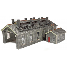 Metcalfe PO337 OO Gauge Settle & Carlisle Style Stone Double Track Engine Shed Card Kit