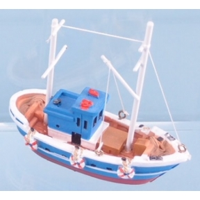 Fishing Boat - 10cm (Red & Blue Hull)
