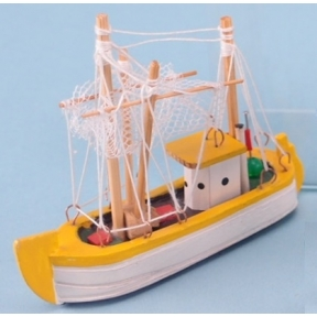 Fishing Boat 8cm Long x 7.6cm High Yellow
