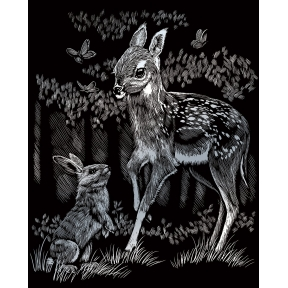 Fawn and Bunny Silver Engraving Art