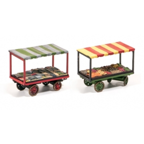 Wills SS37 OO Gauge Market Stalls 4 wheel Barrows With Loads